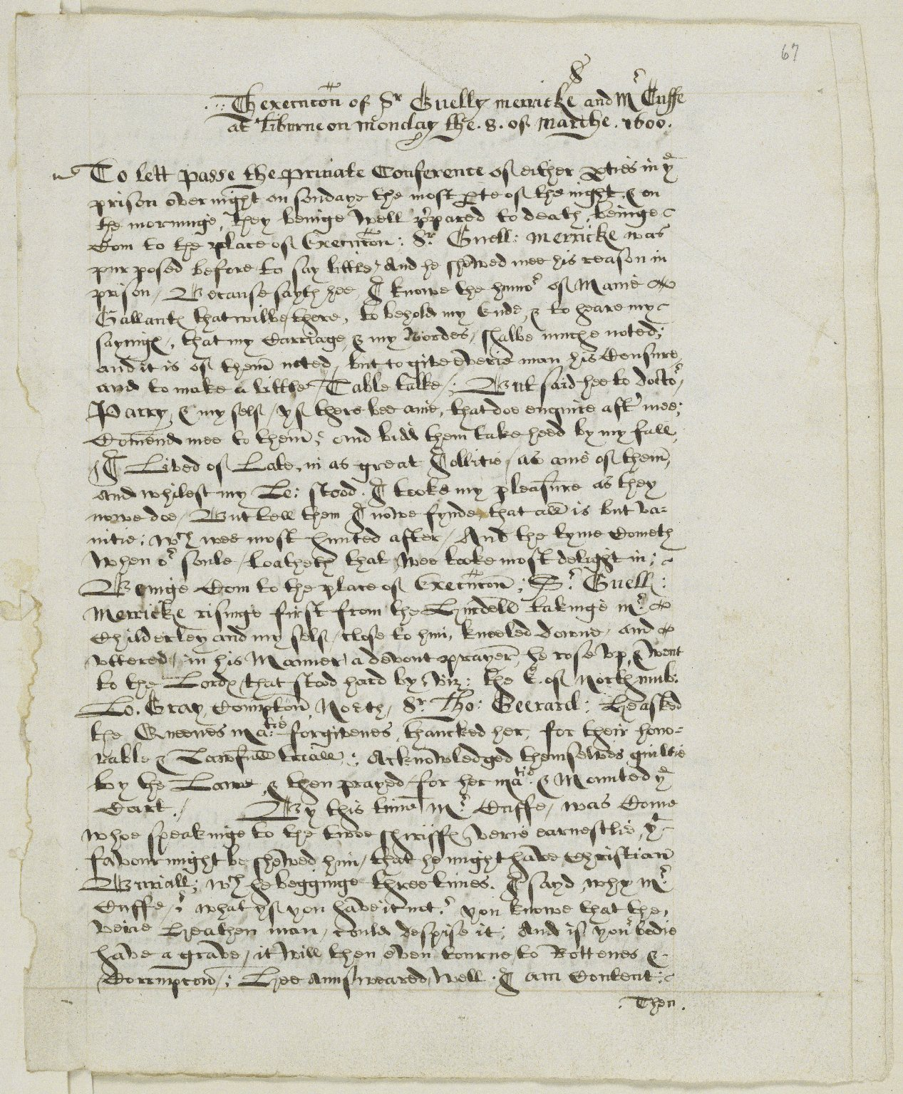 Papers relating to the Earl of Essex, Sir Gelly Meyrick and the Essex Rebellion, 1596-1602