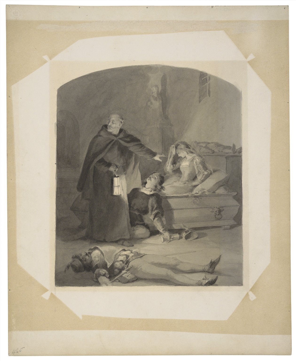 """Unfinished drawing for """"Shakespeare gallery"""", Juliet awaking in the tomb [graphic] / [Felix Darley]."""