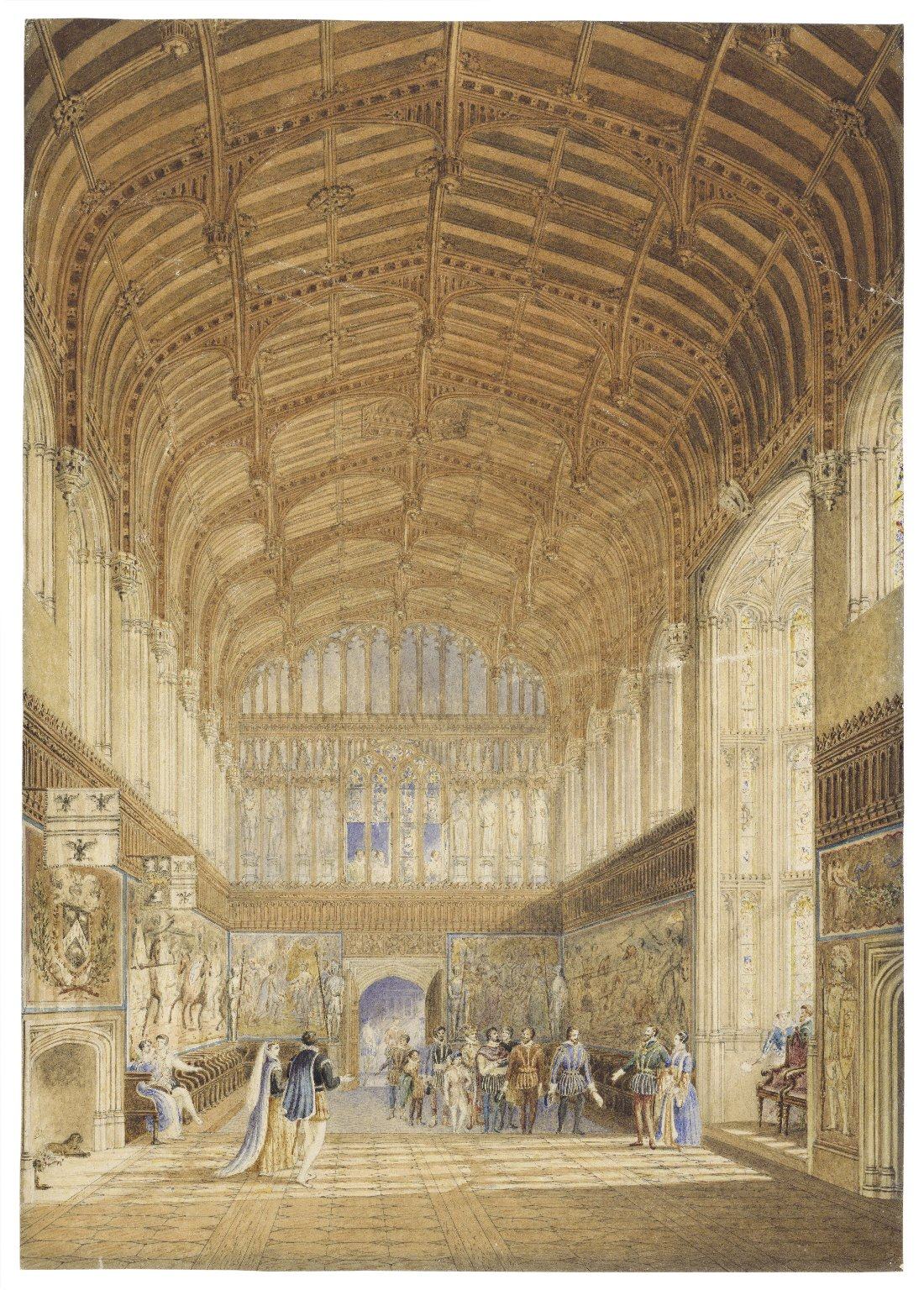 A restoration of Crosby Hall, Bishopsgate, in which is introduced Sir John and Lady Spencer receiving Shakspear [sic] and his players previous to a festival [graphic] / Richard Hamilton Essex.