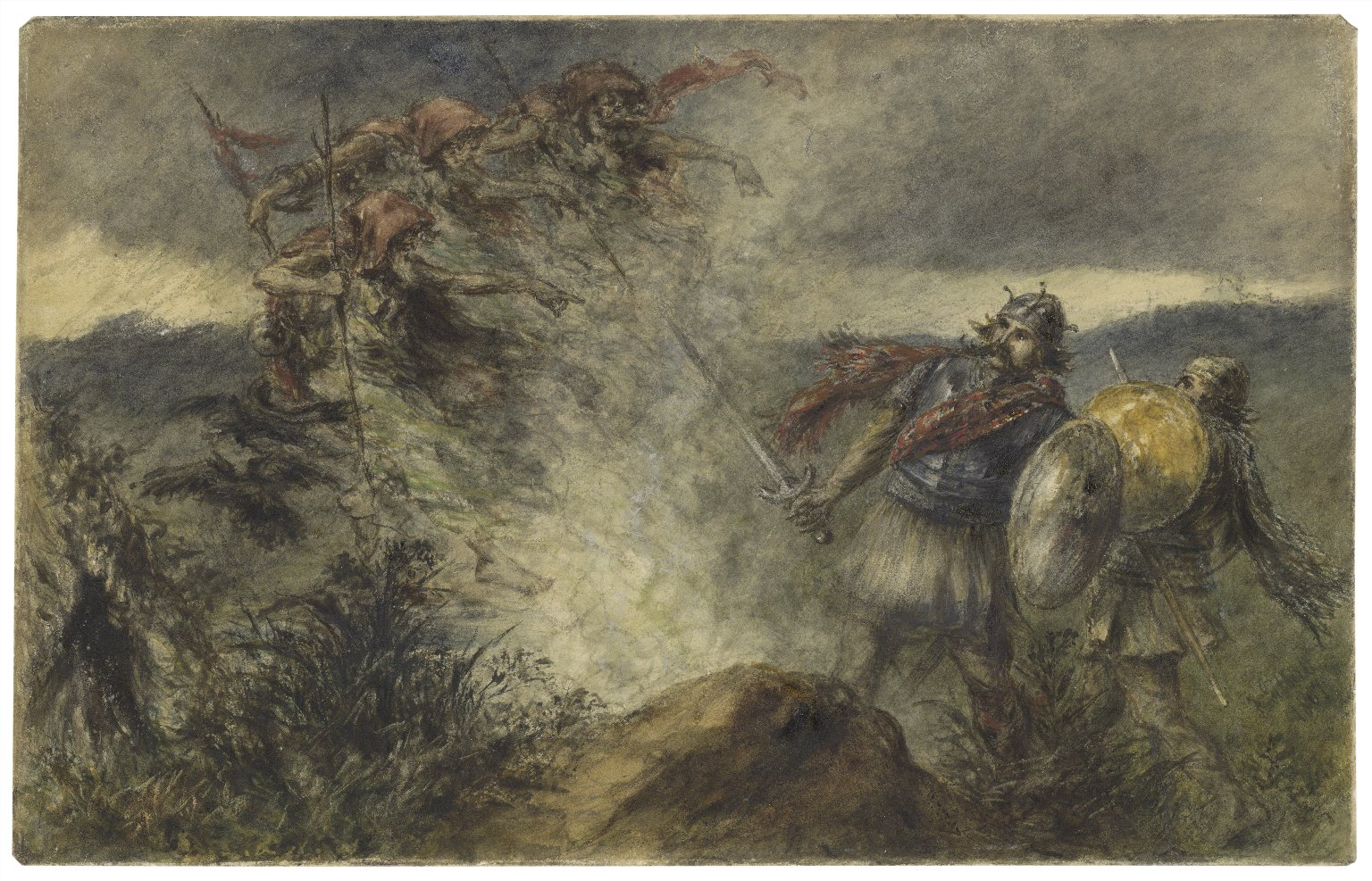 [Macbeth, I, 3, the three witches appearing on the heath] [graphic] / F. Gilbert.