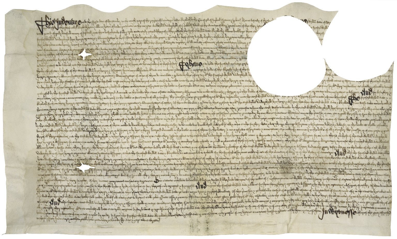 Bargain and sale from William Botte to William Underehyll of Newbold Revel, Warwickshire, Gent. [manuscript], 1567 September 1.