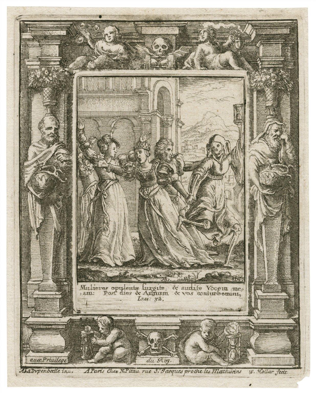 Mulieres opulentae surgite, & audite vocem meam, post dies & annum & vos conturbemini, Isai. 32 [graphic] / H.B. i. [center plate] ; W.H. [center plate] ; Ab. à Dvpenbeché inu. [border] ; W. Hollar fecit [border].