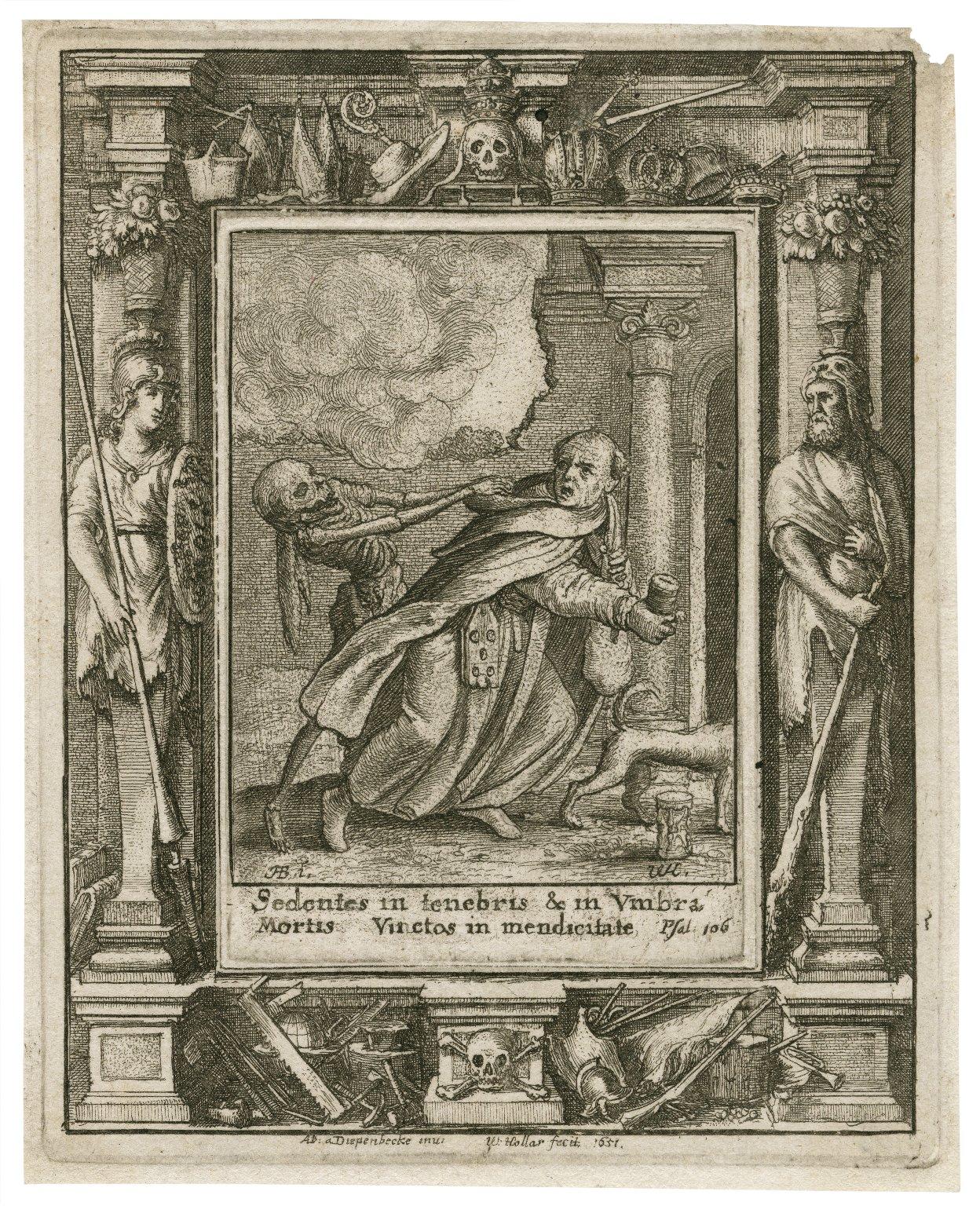 Sedentes in tenebris & in vmbra mortis vinctos in mendicitate, Psal. 106 [graphic] / H.B. i. [center plate] ; W.H. [center plate] ; Ab. a Diepenbecke inu. [border] ; W. Hollar fecit 1651 [border].