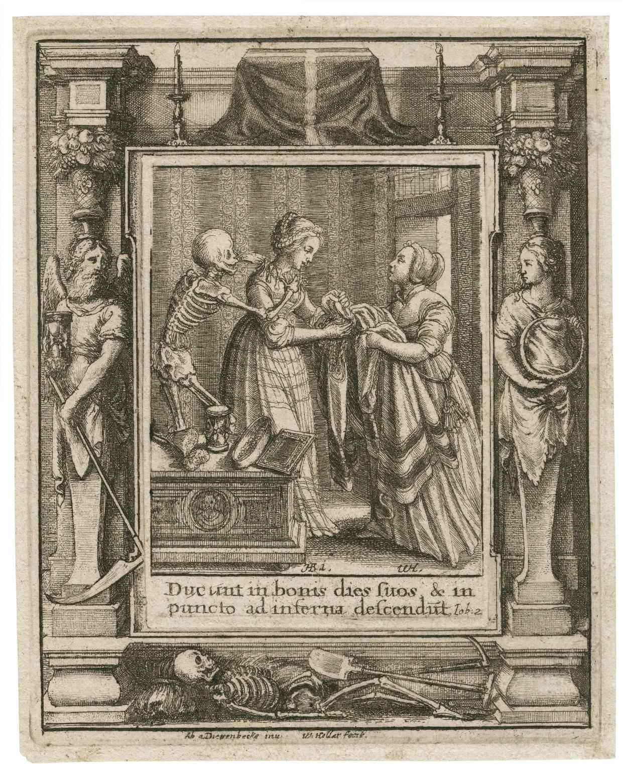 Ducunt in bonis dies suos & in puncto ad inferna descendut, Iob. 2 [graphic] / H.B. i. [center plate] ; W.H. [center plate] ; Ab. a Diepenbecke inu. [border] ; W. Hollar fecit [border].