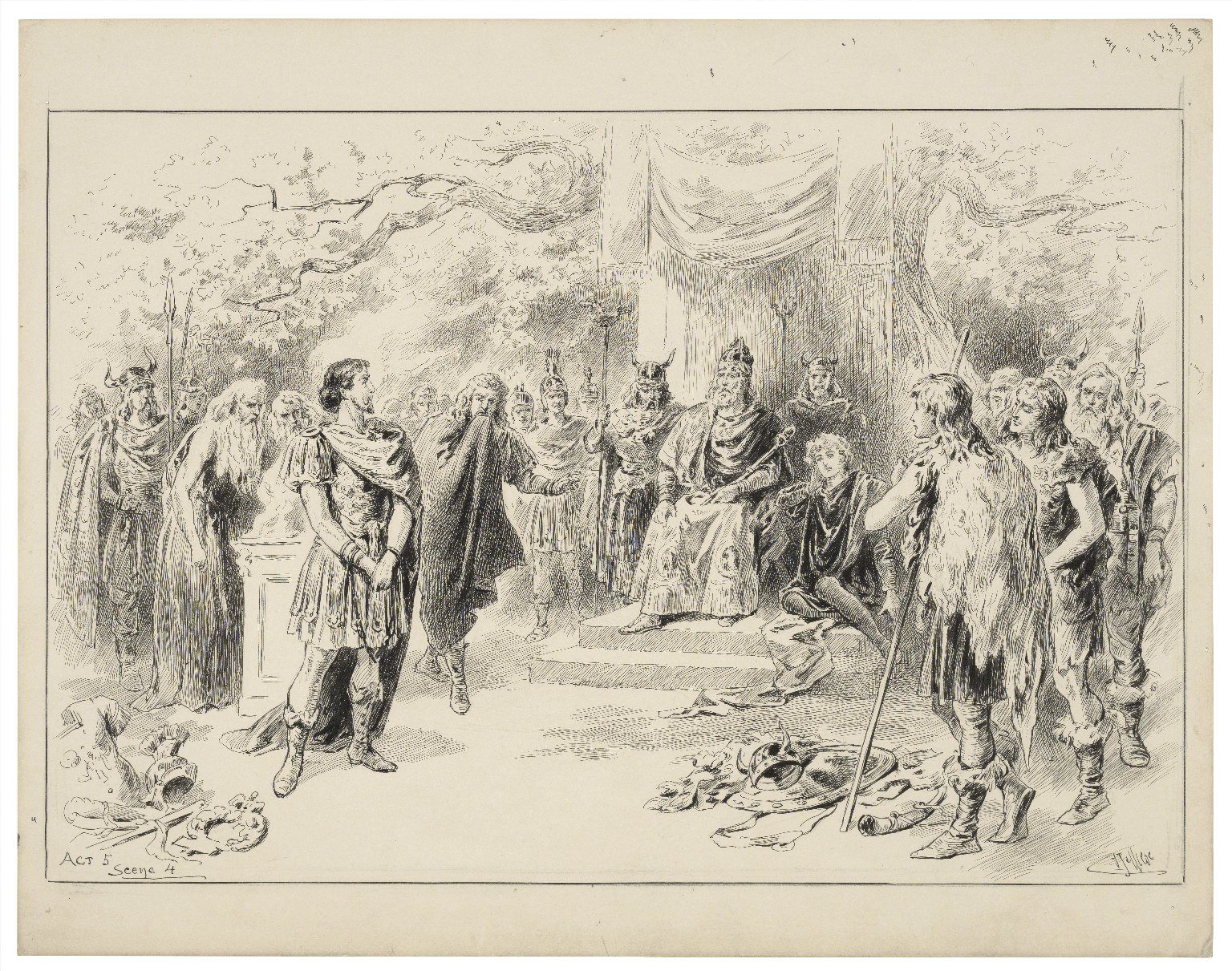 [Cymbeline, V, 4, Lyceum Theatre, October 3, 1896, Sir Henry Irving as Iachimo, Ellen Terry as Imogen, Mr. Macklin as Cymbeline] [graphic] / J. Jellicoe.