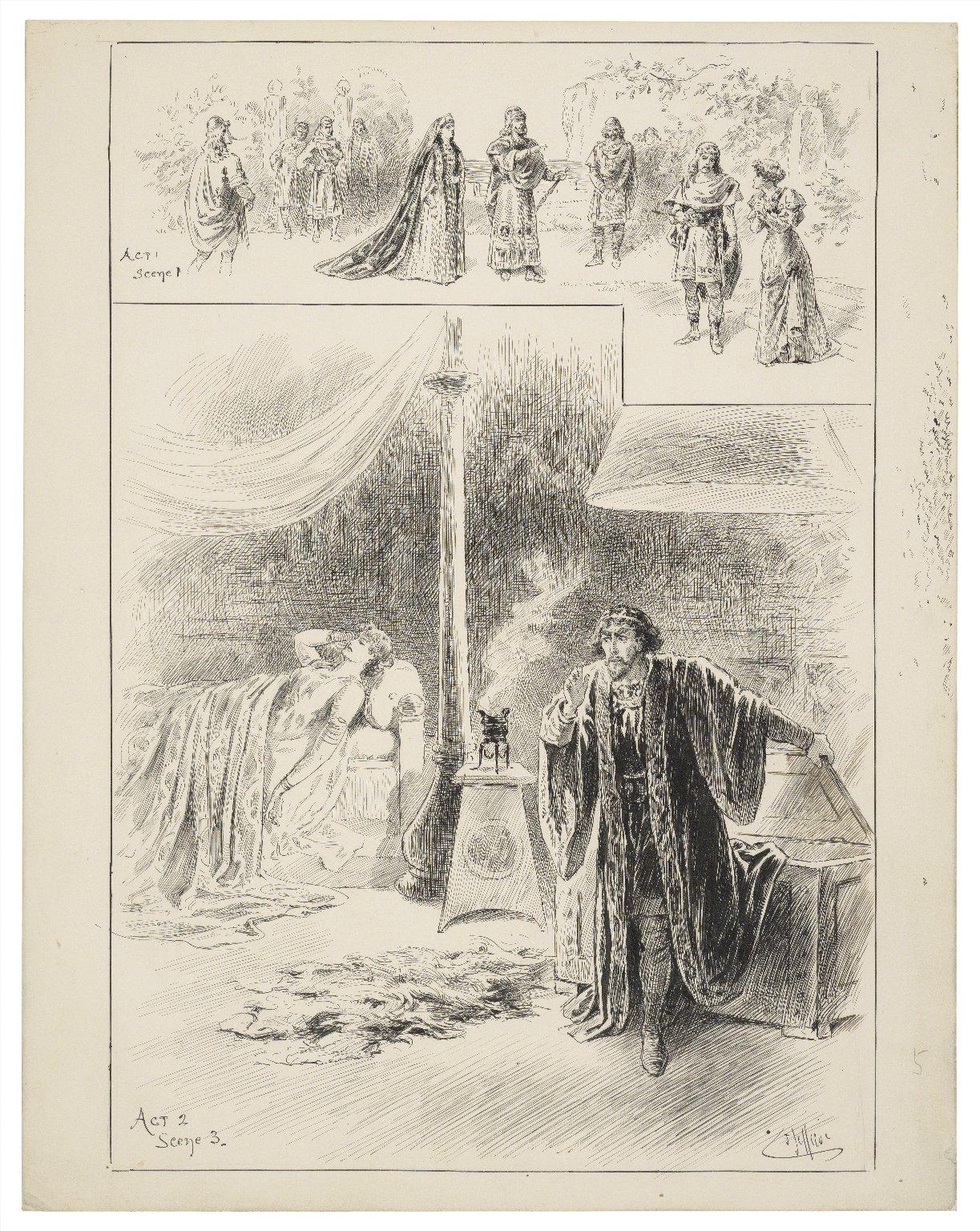 [Cymbeline, Miss Ellen Terry as Imogene, Mr. Henry Irving as Iachimo, Lyceum Theatre, September 26, 1896] [graphic] / J. Jellicoe.