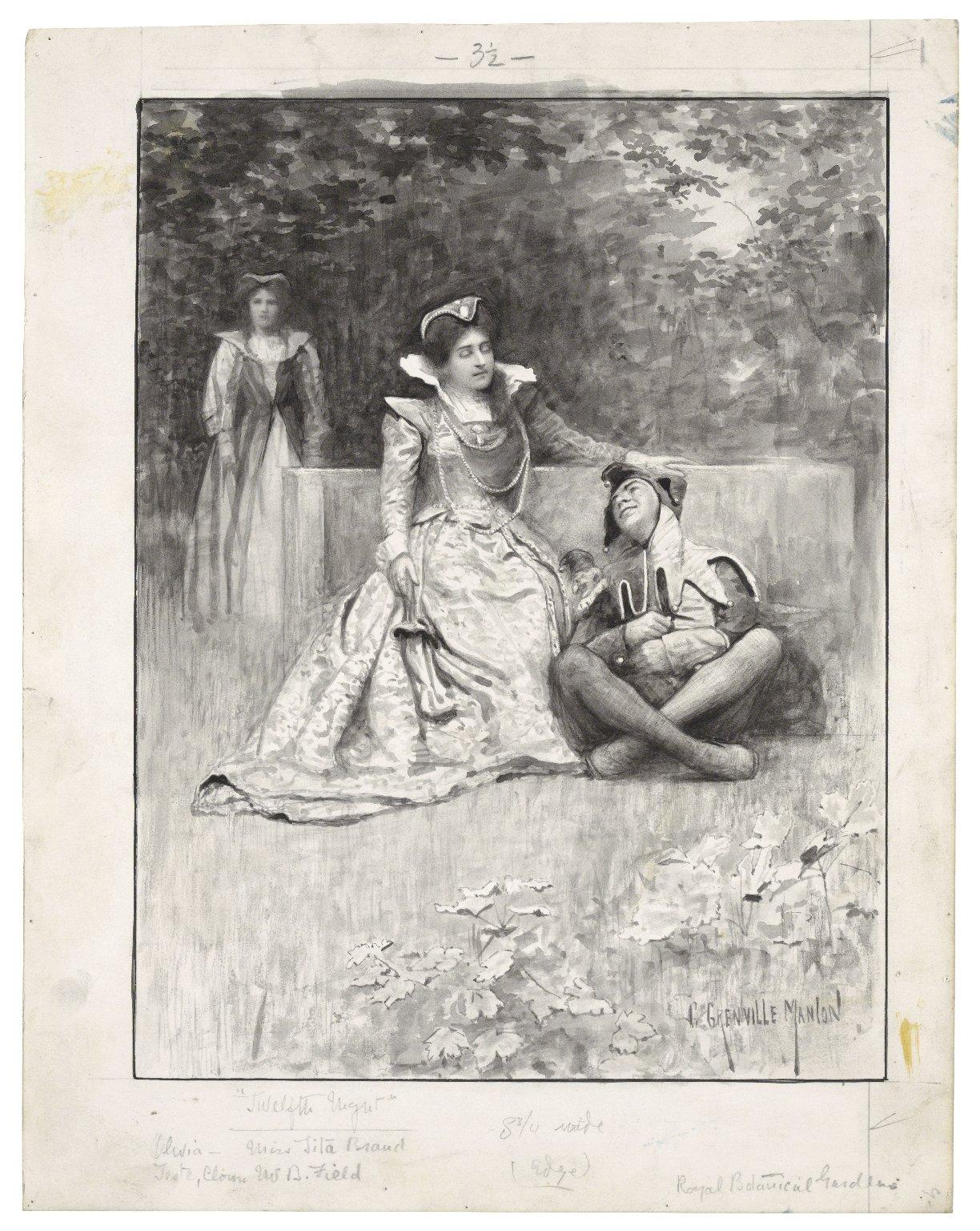 Twelfth night, Olivia - Miss Tita Brand, Feste, Clown - Mr. W. B. Field, [performed at the] Royal Botanical Gardens [graphic] / G. Grenville Manton.