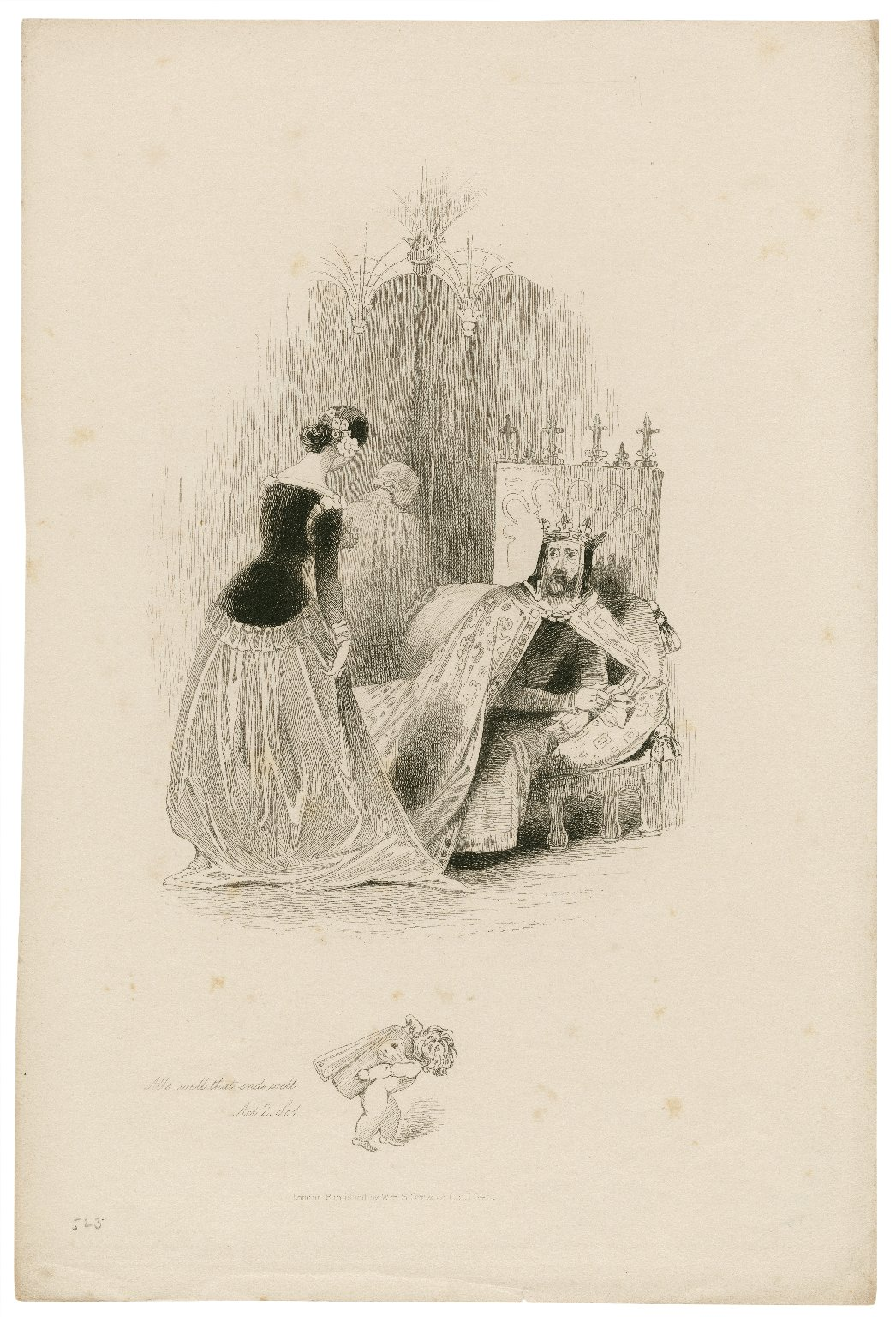 All's well that ends well, act 2, sc. 1 [graphic] / [Joseph Kenny Meadows].