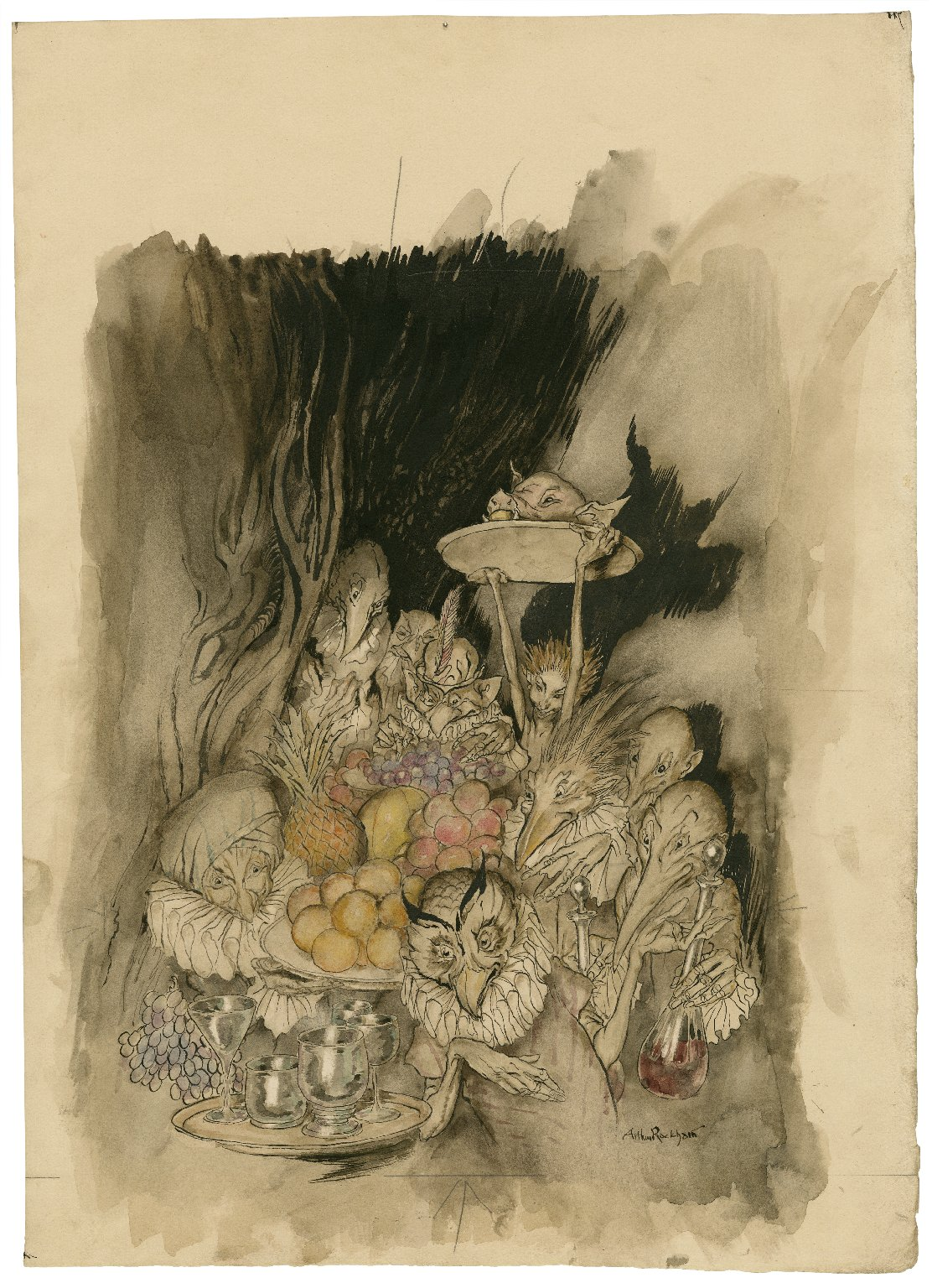 Enter several strange shapes, bringing in a banquet ... inviting the King, etc., to eat. [The tempest] III. iii. 19 [graphic] / Arthur Rackham.