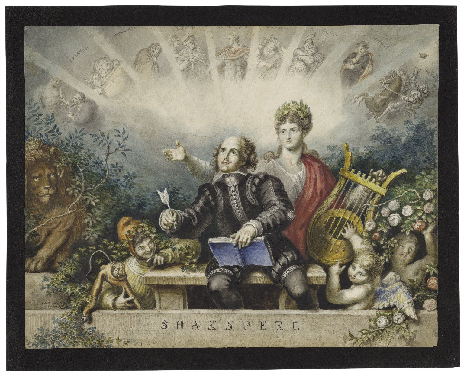 Shakspere [portrait surrounded by a muse, clown, lion, cupids, and various characters from his plays] [graphic] / [Johann Heinrich Ramberg].