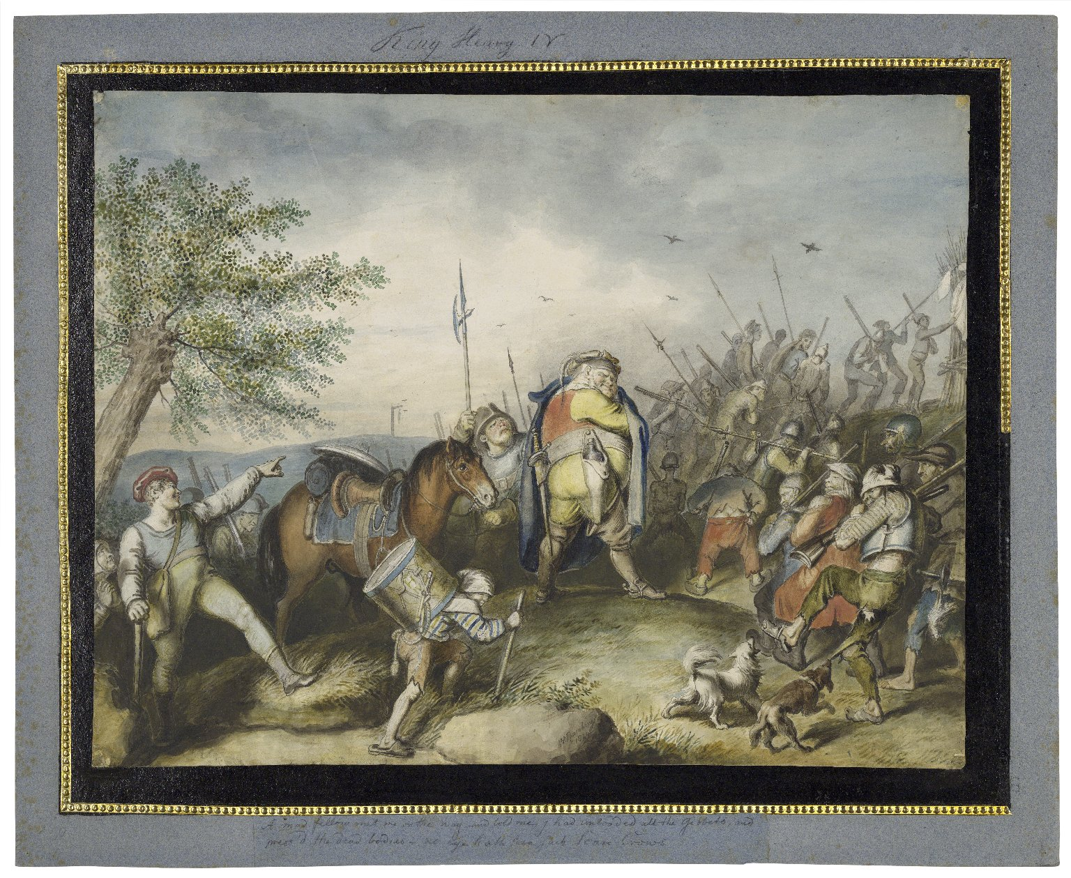 """King Henry IV, pt. 1, IV, 2, public road near Coventry: """"A mad fellow met me on the way, and told me, I had unloaded all the gibbets, and mess'd the dead bodies, no eye hath seen such scare crows"""" [graphic] / [Johann Heinrich Ramberg]."""