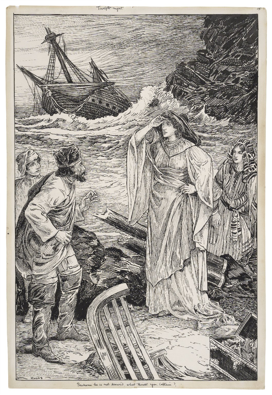 Twelfth night. Perchance he is not drown'd, what think you, Captain? [graphic] / Louis Rhead.