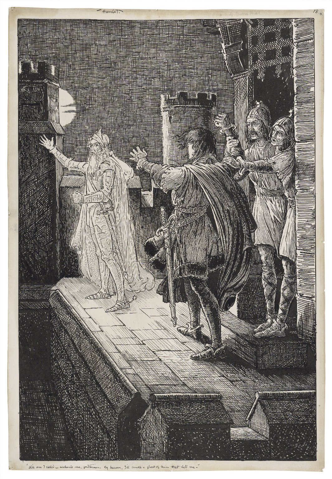 Hamlet. Still am I called - unhand me gentlemen, by heaven, I'll make a ghost of him that lets me [graphic] / [Louis Rhead].