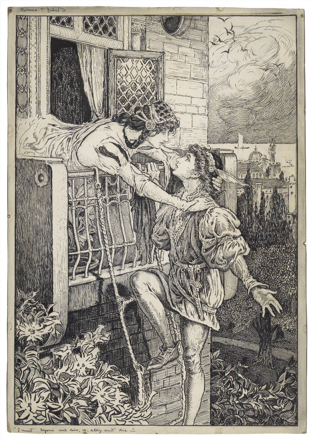 Romeo & Juliet. I must begone and live, or stay and die [graphic] / [Louis Rhead].