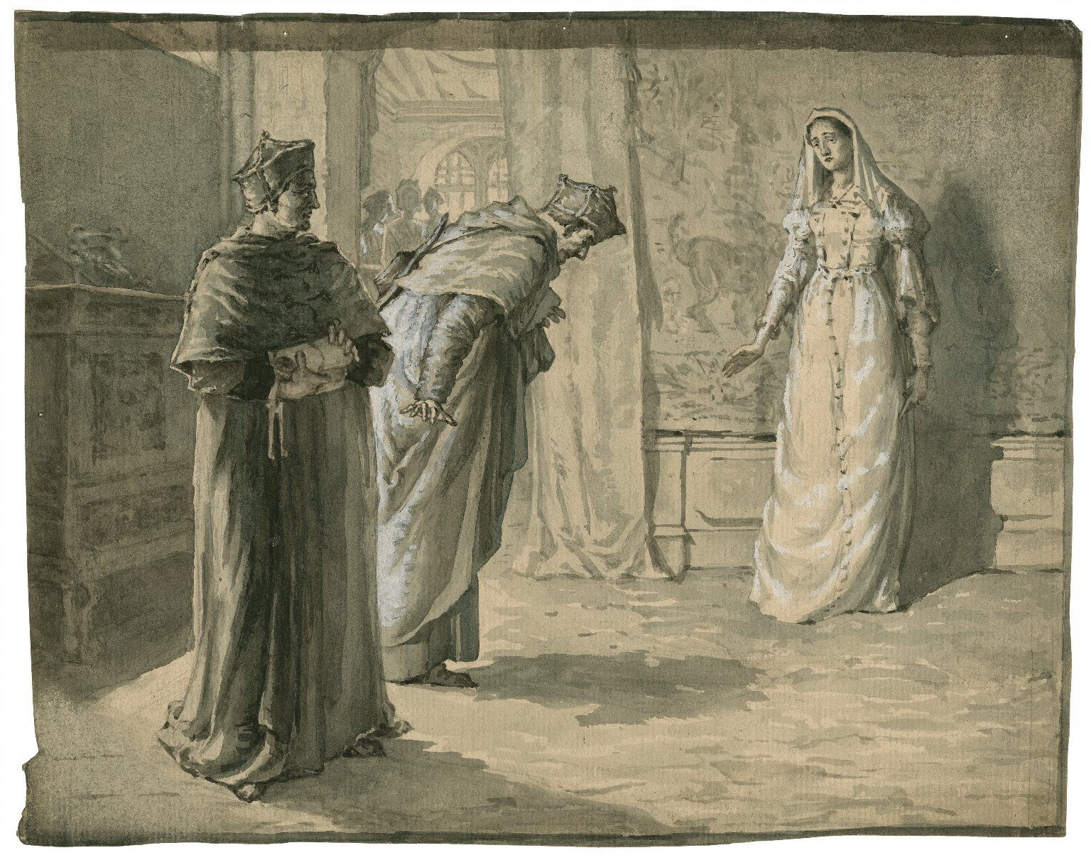 [Scene from King Henry VIII, 1, with Queen Katherine, Cardinal Wolsey, and Cardinal Campeius] [graphic].