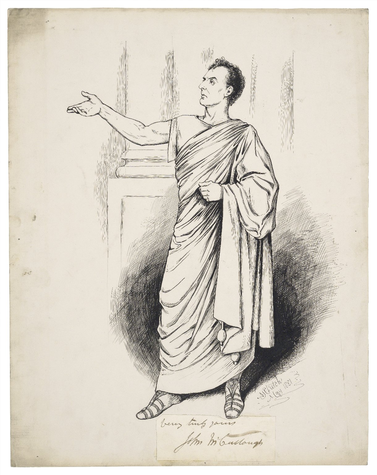 [John McCullough as Virginius in Knowle's tragedy of that name] [graphic] / M. Stretch, May 1881.