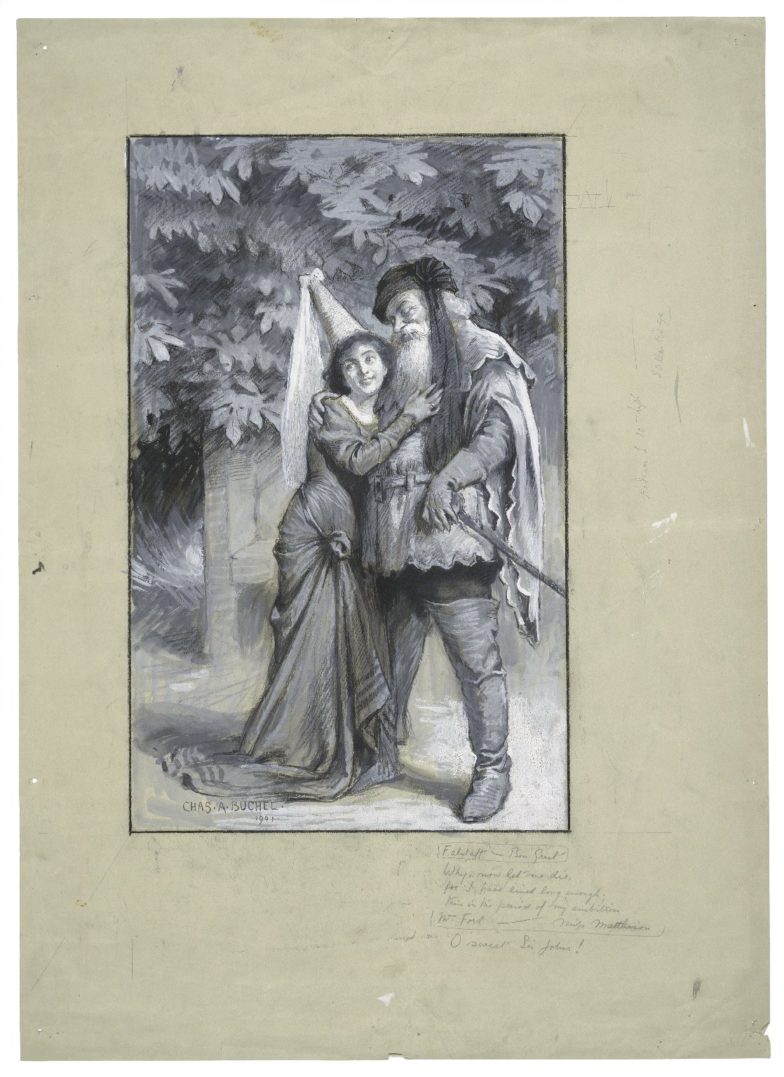 [The merry wives of Windsor at Regent's Park, Mr. Greet as Falstaff and Miss Matthison as Mistress Ford] [graphic] / Chas. A. Buchel.