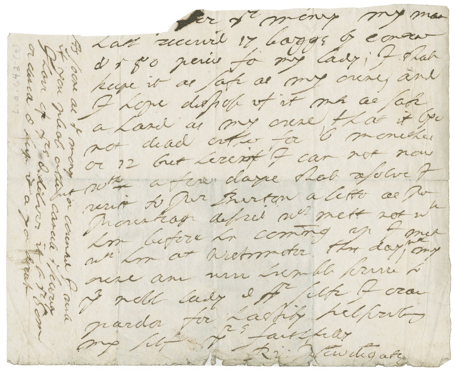Letter from Sir Richard Newdigate to unidentified recipient