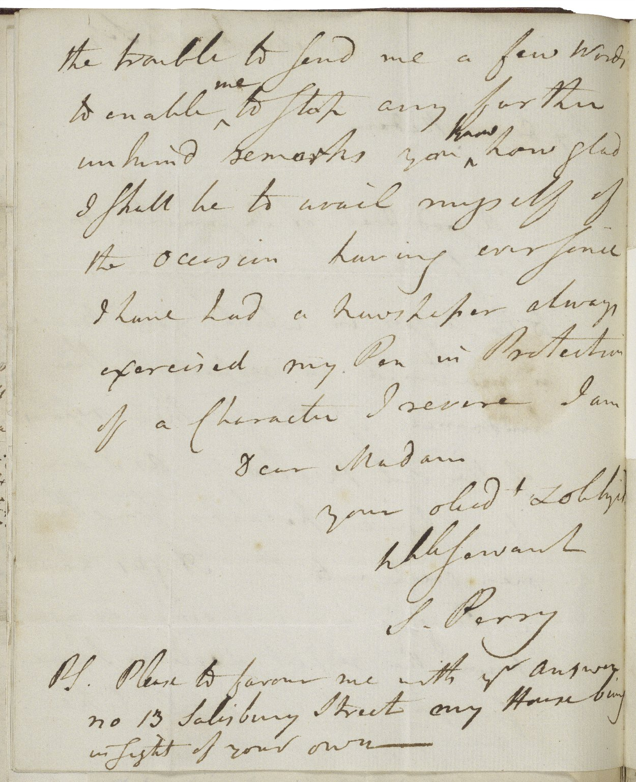 Autograph letter signed from S. (Sampson) Perry, No. 13, Salisbury St., to Mrs. Garrick [manuscript], [1791] September 14 Wednesday.
