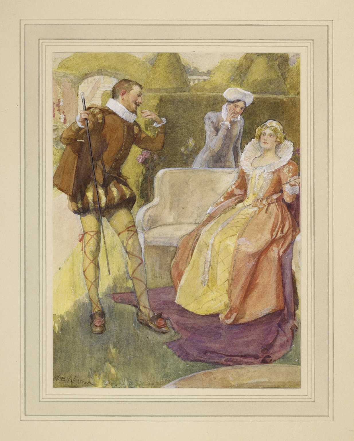 [Twelfth night, III, 4, Malvolio and Olivia in the garden] [graphic] / W.E. Webster.