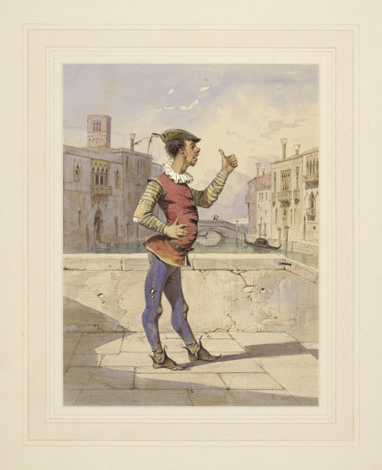 [Merchant of Venice, act 2, scene 2, Launcelot Gobbo, the clown] [graphic] / C.W., 1847.