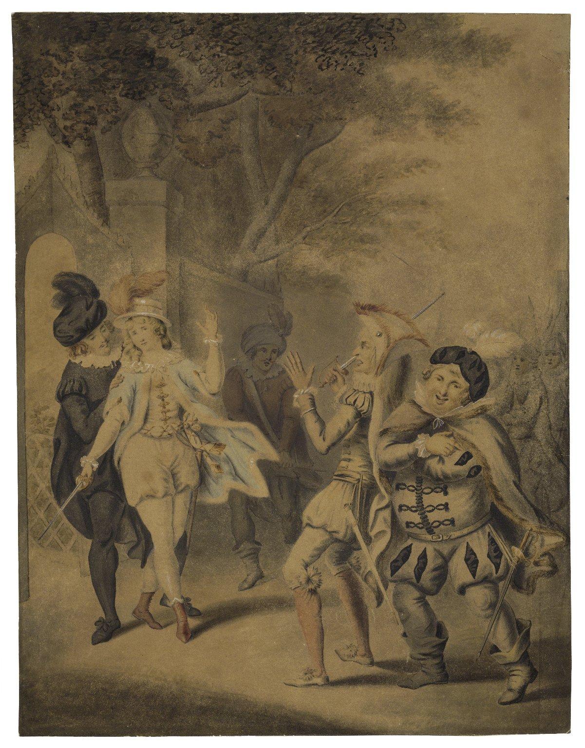 The duel between Viola and Sir Andrew Aguecheek in Twelfth night (act III, sc.4) [graphic] / [Henry William Bunbury?].