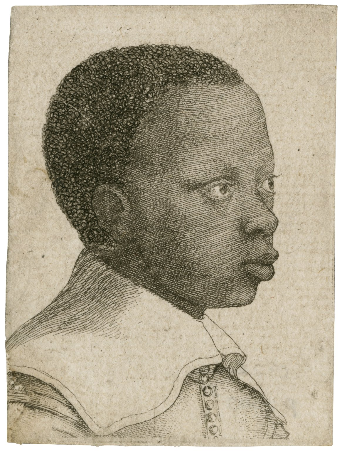 [Head of a young Black boy in profile to right]