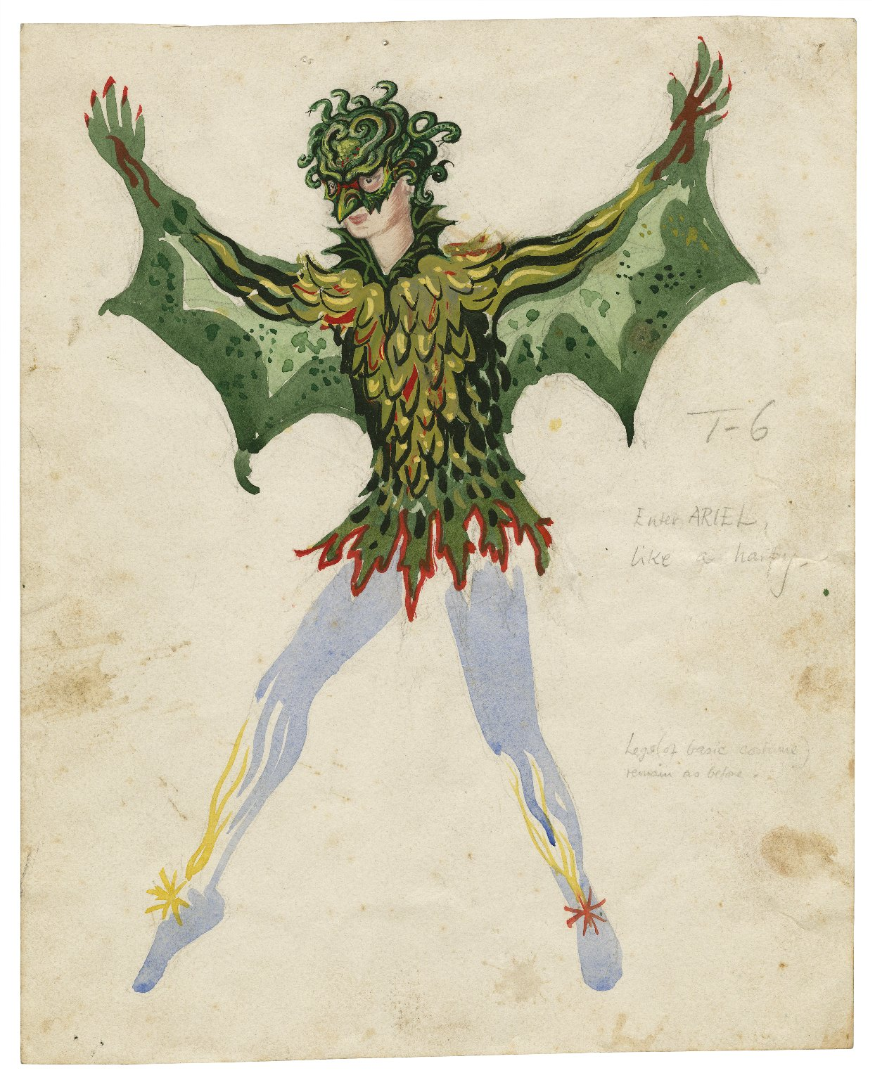 Costume for Ariel as Harpy, the Tempest