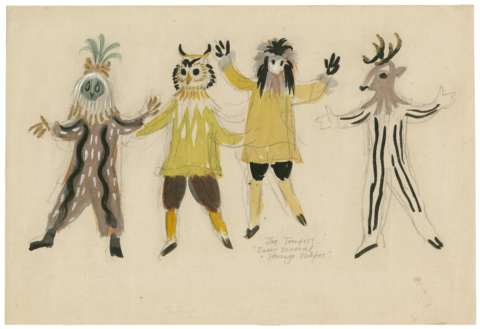 """Sheet of sketches for costumes for the """"Strange Shapes,"""" the Tempest"""