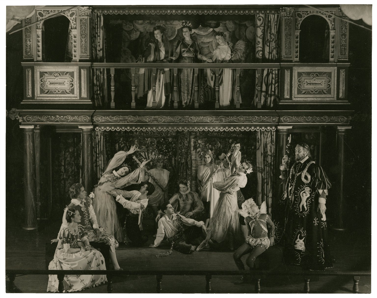 Production photo of The Tempest (at the Mermaid theatre, costumes by C. Walter Hodges)