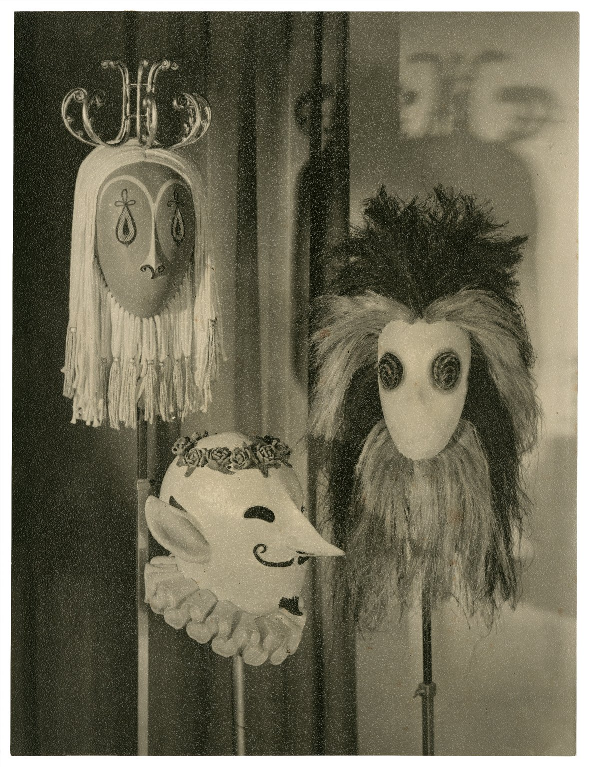"""Masks for the """"Strange Shapes"""" in Act 3, scene 4, Tempest (designed by C. Walter Hodges)"""