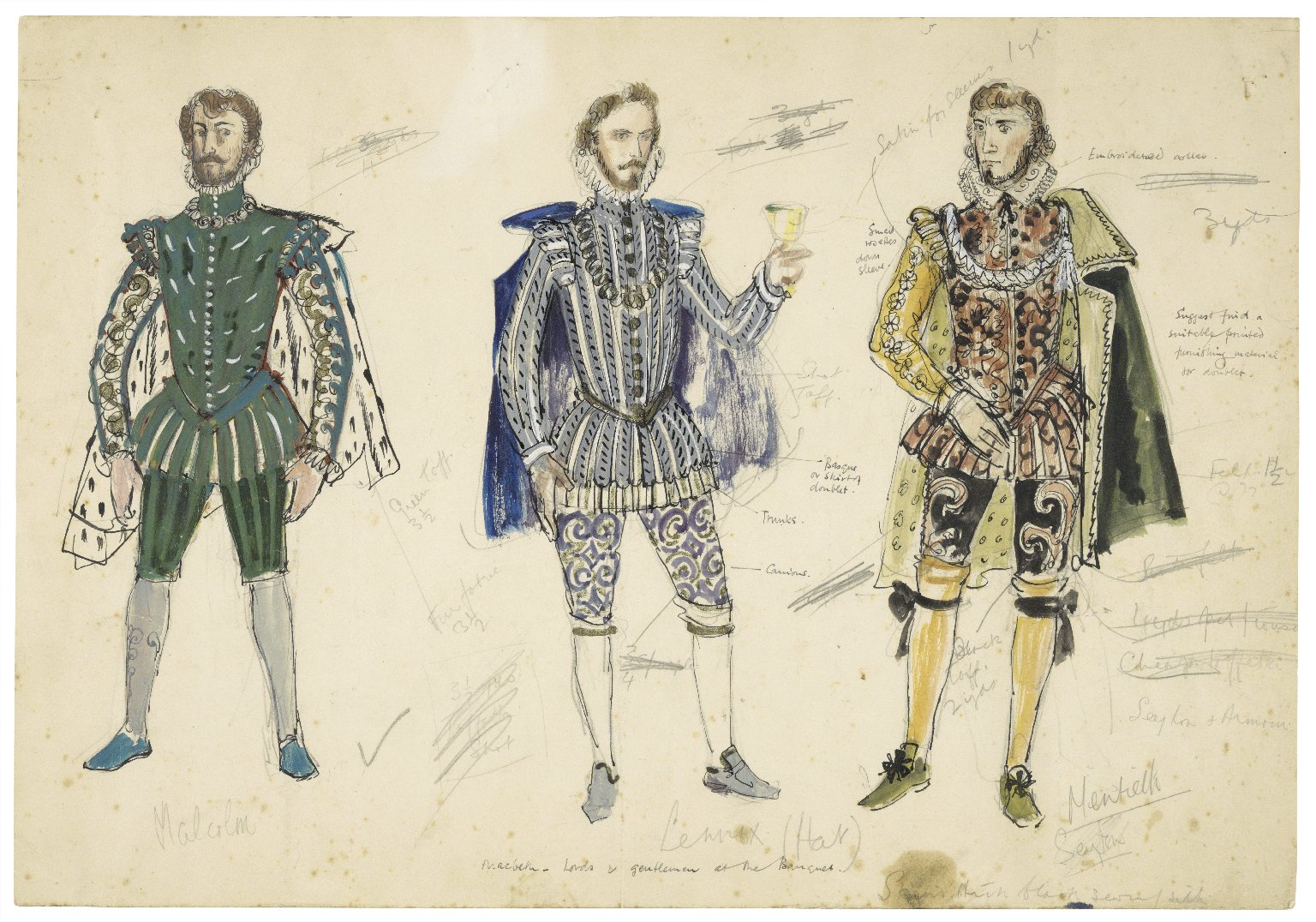 Sheet for 3 wardrobe sketches for noblemen's costumes