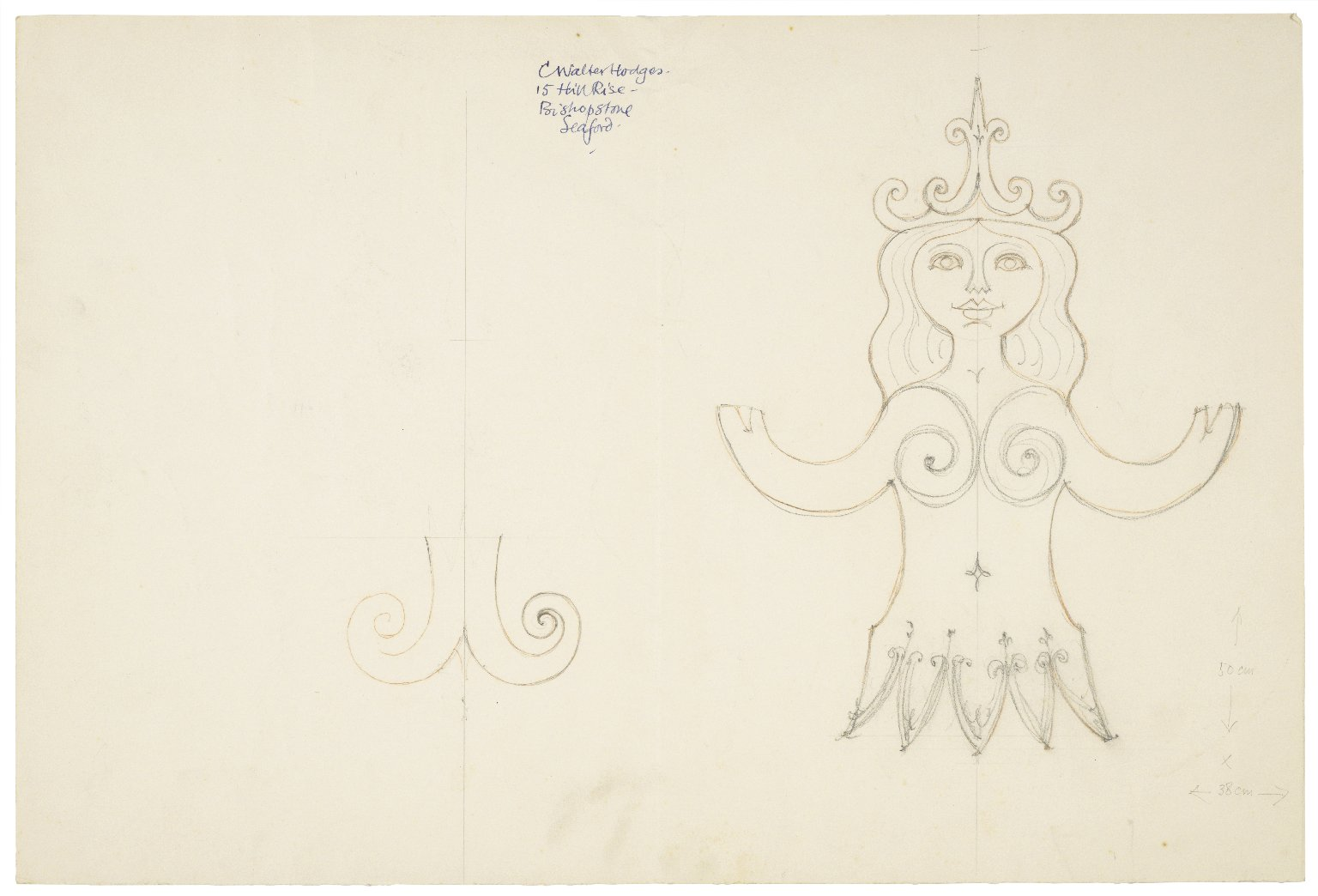Sketch of an emblem for the Mermaid theatre