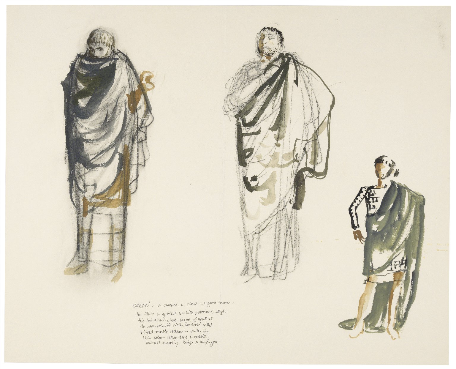 Oedipus Rex, costume drawings for Creon