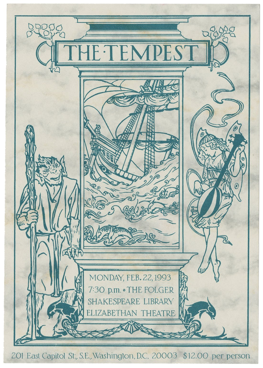 Postcard promoting a staging of The Tempest.