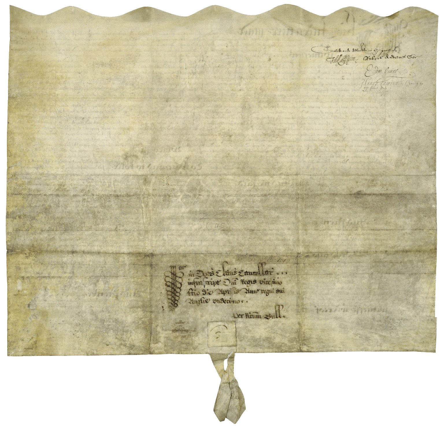 Bargain and sale from Henry Walker, citizen and minstrel of London, to William Shakespeare of Stratford-upon-Avon, Gent., and to his trustees, William Johnson, citizen and vintner of London, John Jackson, and John Hemmyng of London, Gents. [manuscript], 1612/13 March 10.