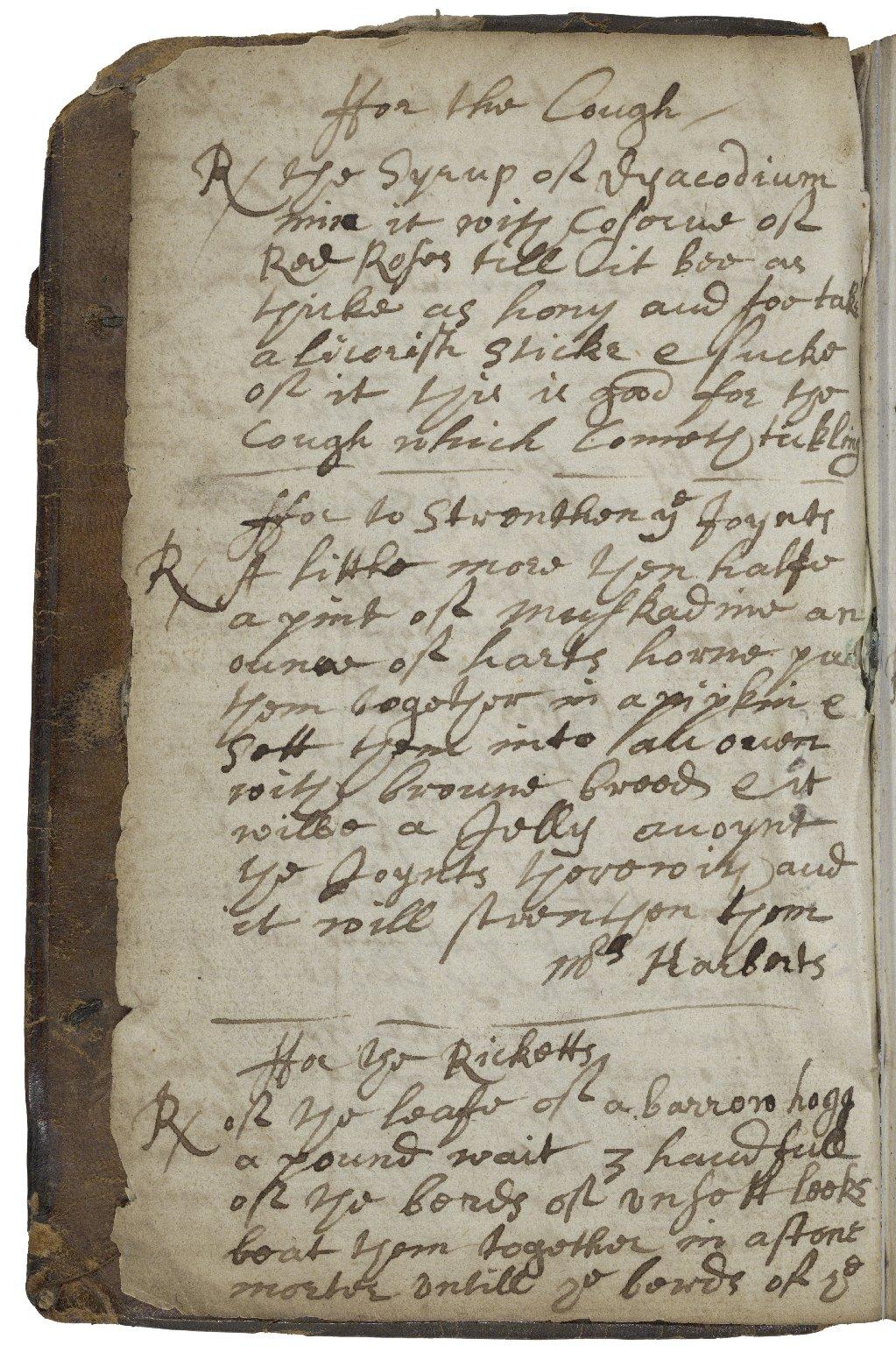 Medicinal and cookery recipes [manuscript], compiled ca. 1650-ca. 1662.