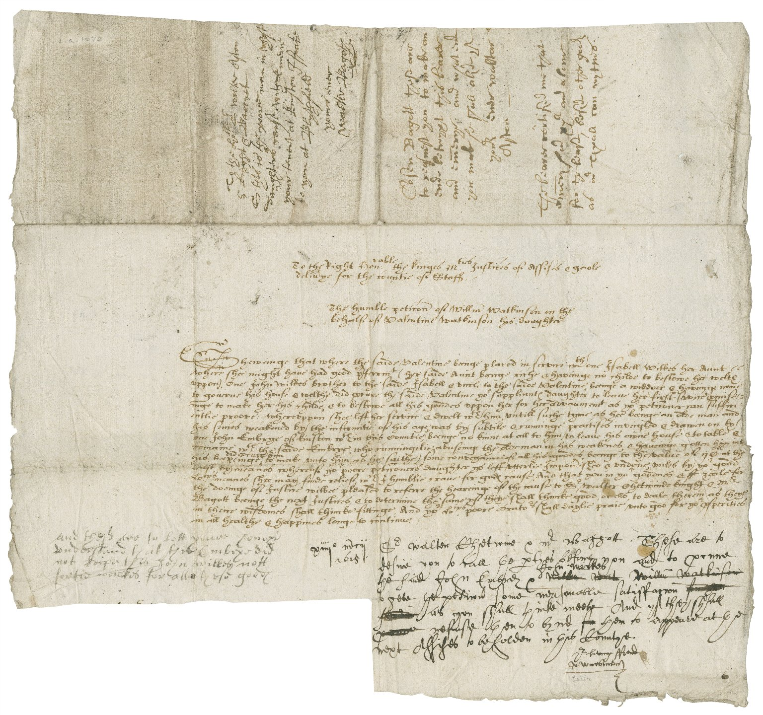 Petition of William Watkinson to the justices of assize