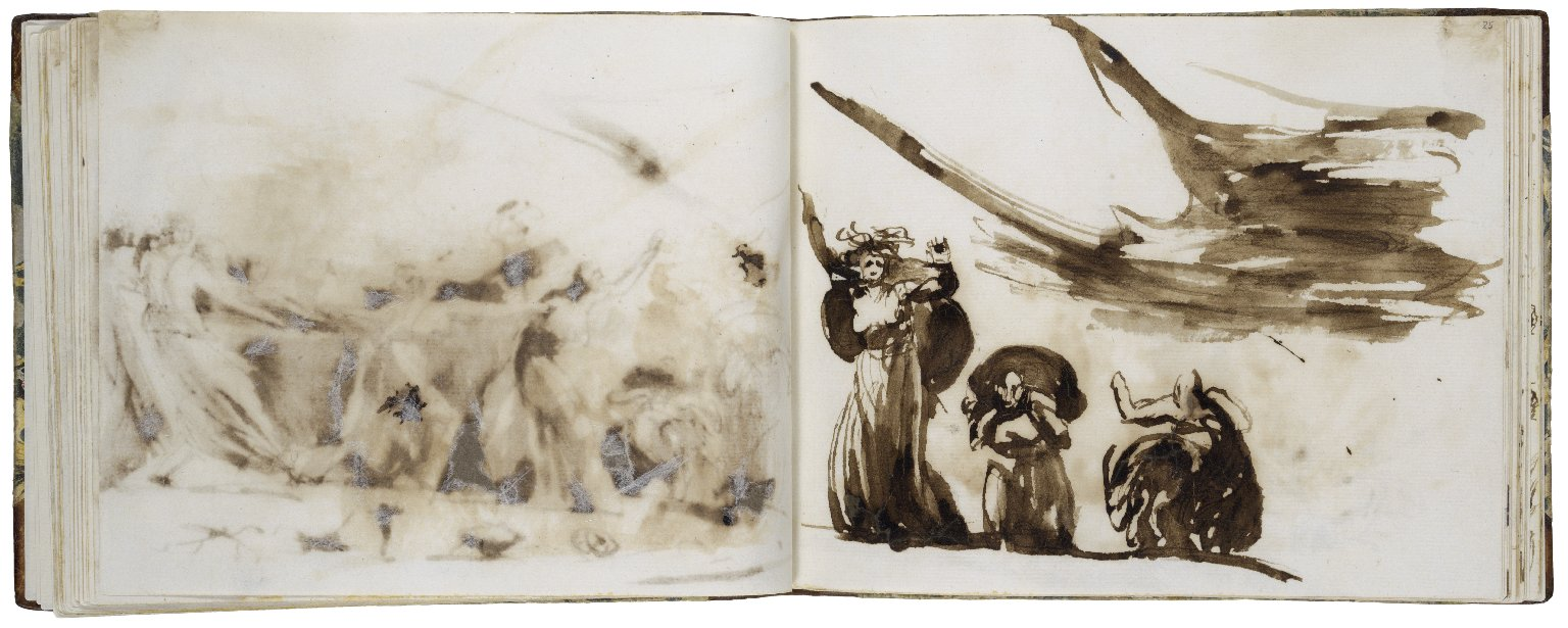 Macbeth: Cavern Scene, Witches; pen with brown ink and wash