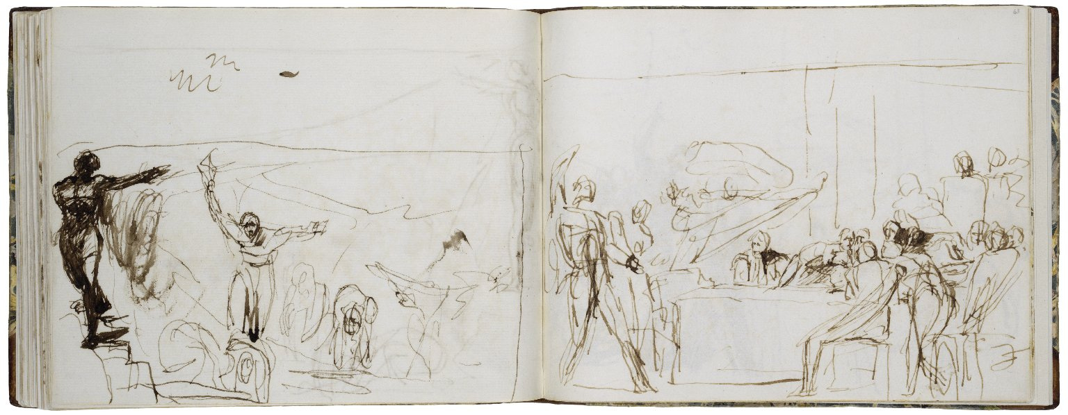62v: Macbeth: Cavern Scene; pen with brown ink and wash. 63r: Macbeth: Banquet Scene; pen with brown ink and wash.