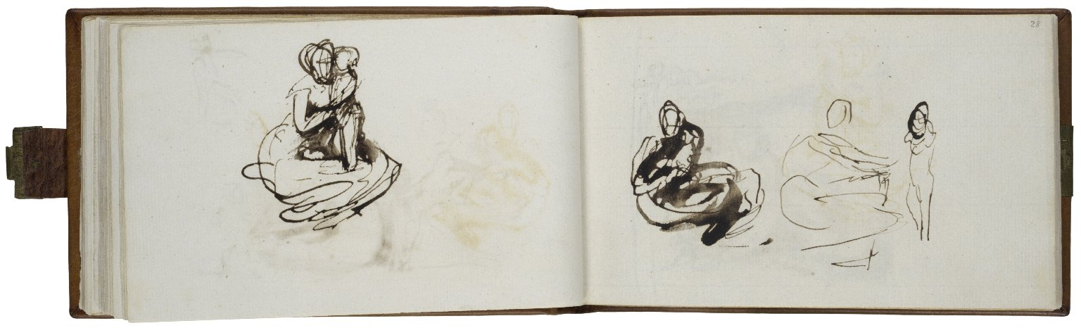 27v: Mother and Child; pen with brown ink and wash. 28r: Seated Woman and Child: Two Studies; pen with brown ink and wash