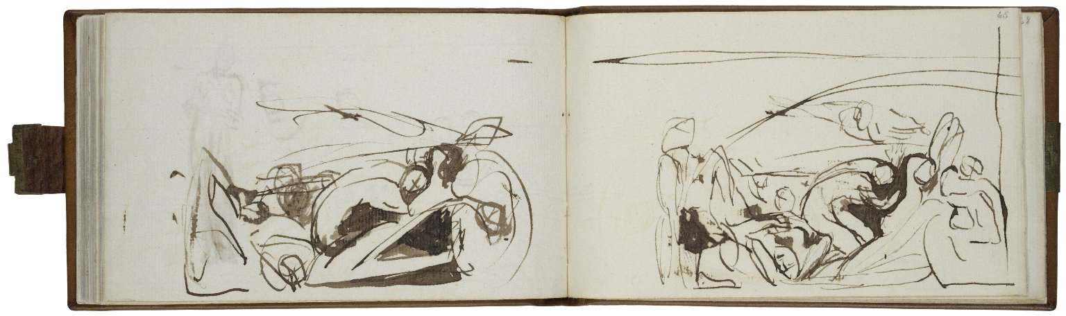 64v: Very rough indication of some of the prisoners from the prison scene; pen with brown ink and wash. 65r: Prison Scene; pen with brown ink and wash