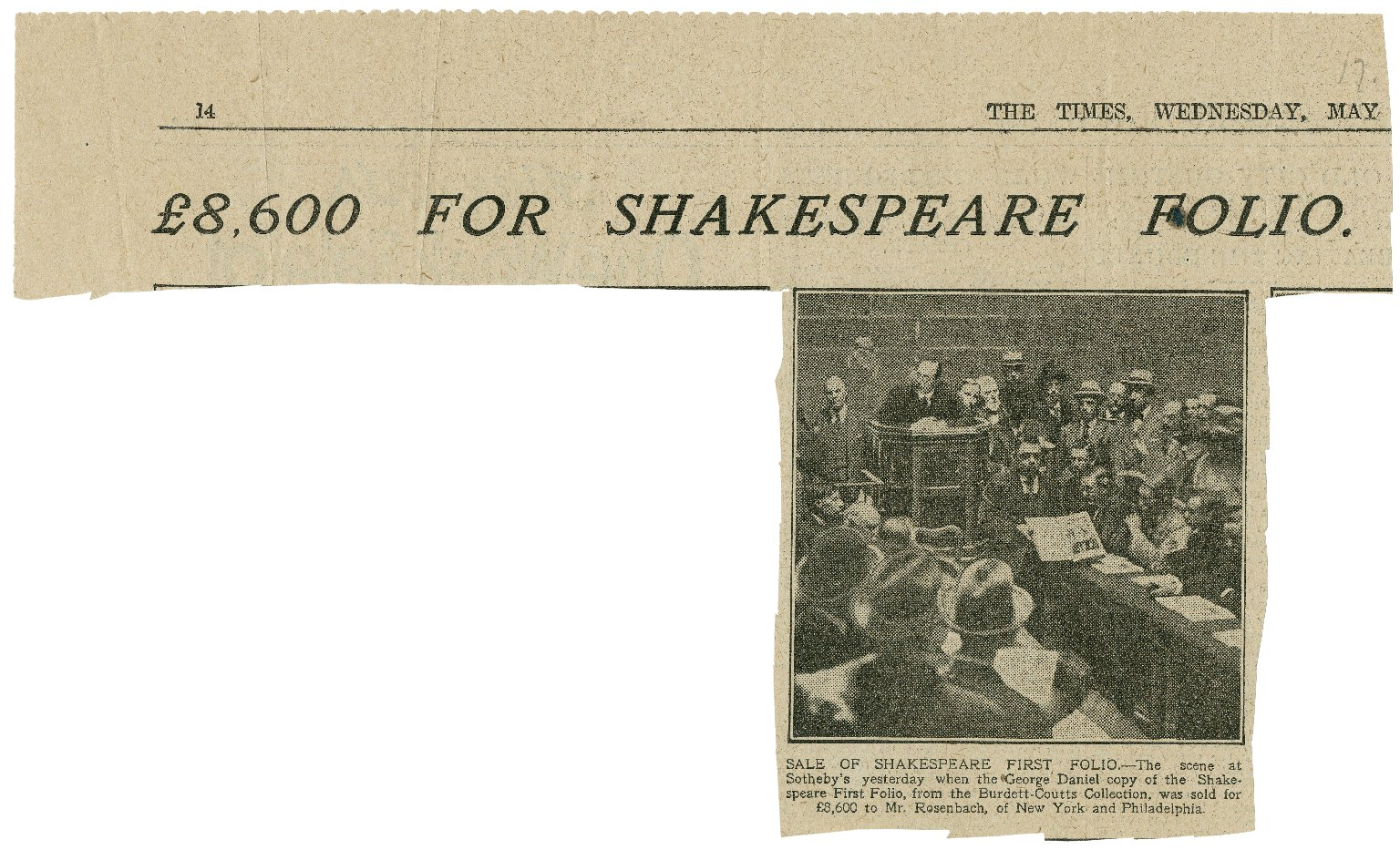 8,600 for Shakespeare Folio, [from May 17, 1922]