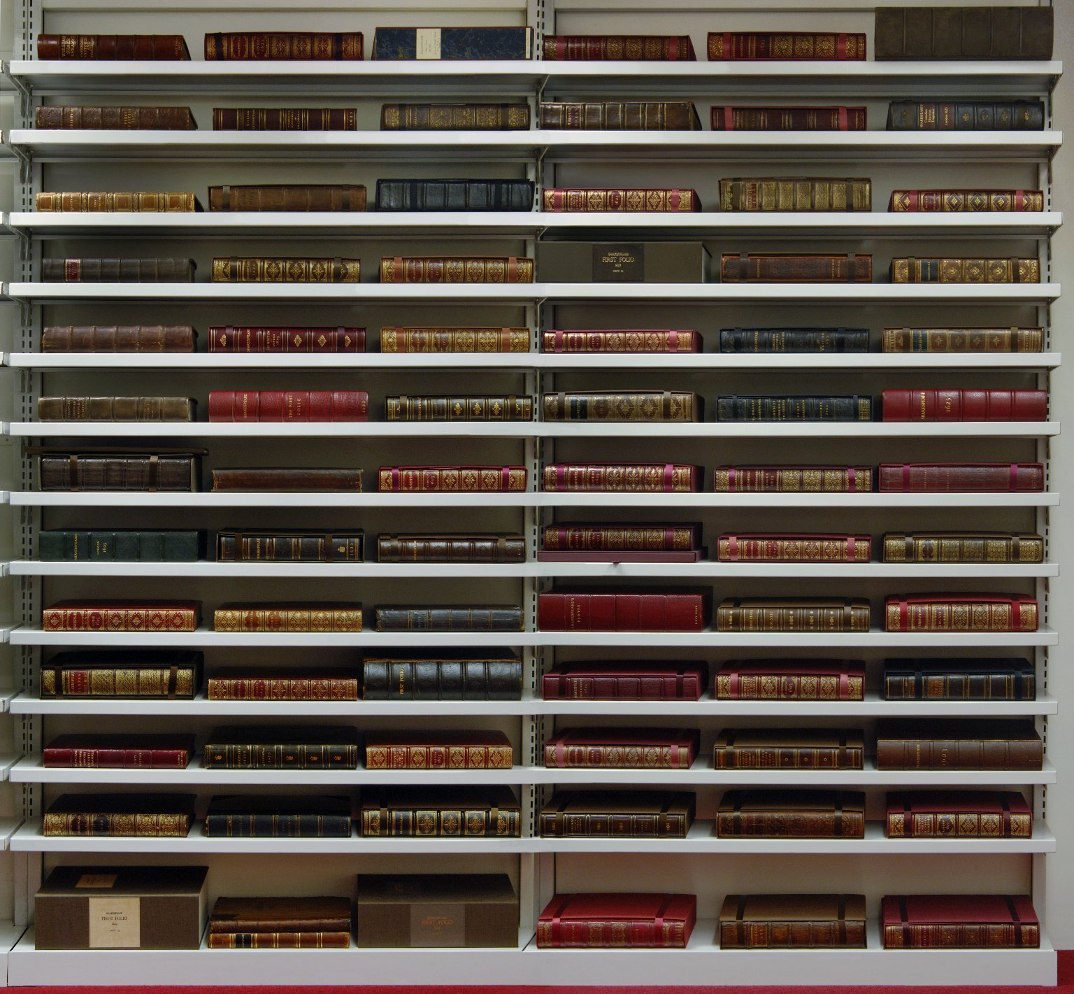 Folger collection of 82 First Folios in the STC vault
