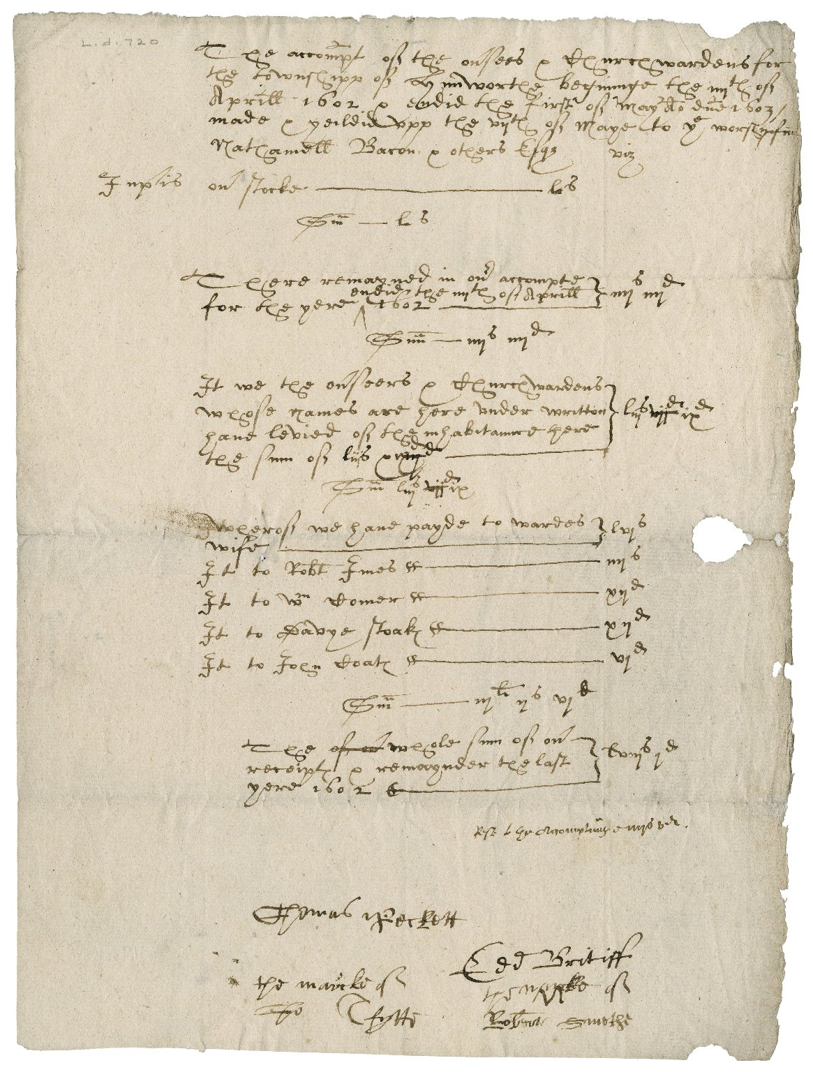 Churchwarden's accounts by Nathaniel Bacon for Lynneworthe? for April 4, 1602-May 1, 1603