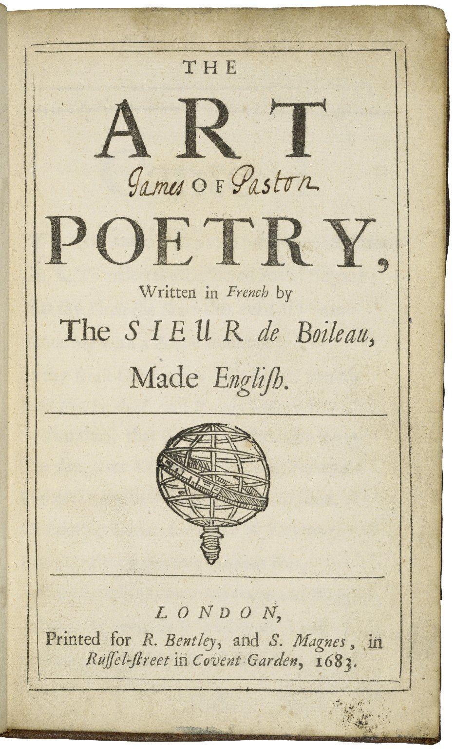 [Art poétique. English] The art of poetry, written in French by the Sieur de Boileau, made English.