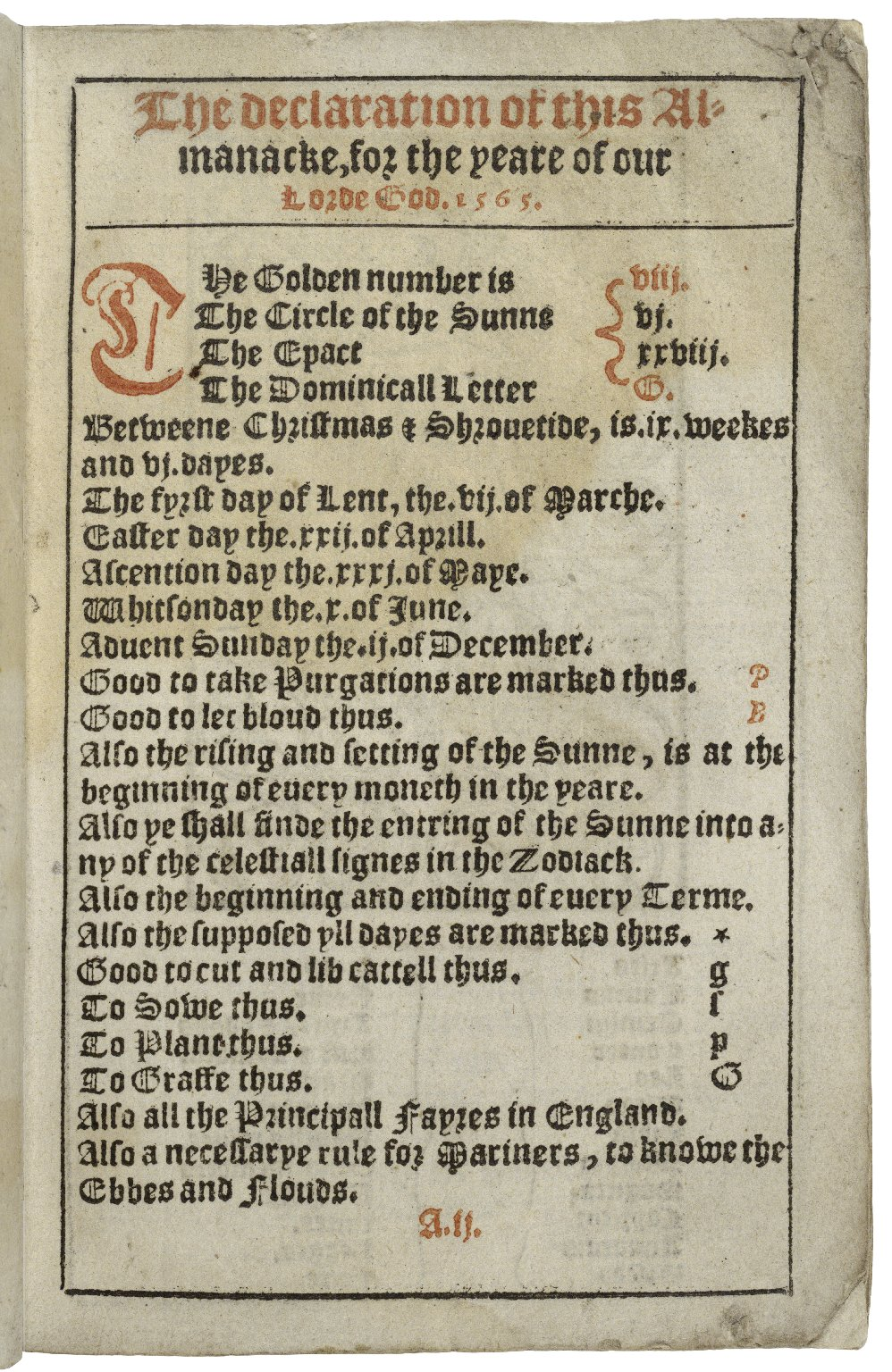 An almanacke, and prognostication, for the yeare of our Lorde God. 1565.