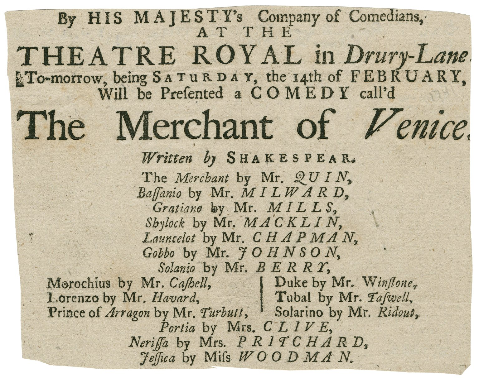 Merchant of Venice, Drury Lane Playbill