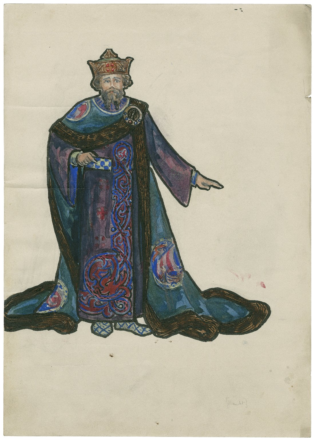 Hamlet. Costume design for a character.