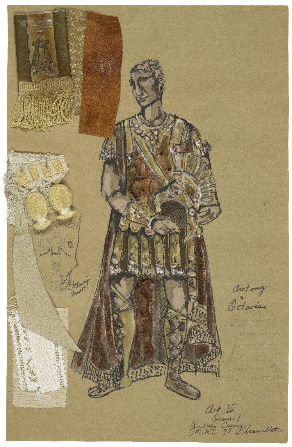 Costume design for Antony in Scassallati's production of Julius Caesar Act 4 Scene 1
